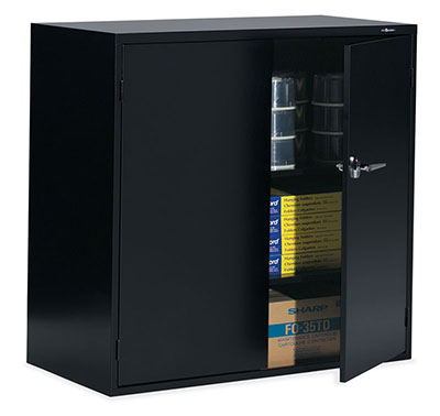 Storage Cabinet - One fixed center shelf, one adjustable shelf